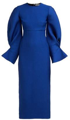 Emilia Wickstead Karina Gathered Sleeve Seersucker Dress - Womens - Blue