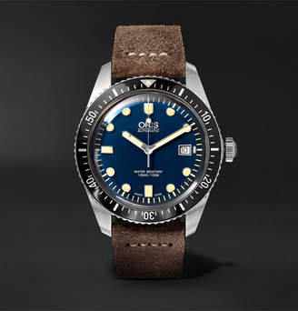 Oris Divers Heritage Sixty-Five 42mm Stainless Steel and Burnished-Leather Watch
