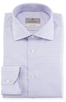 Canali Impeccabile Textured Check-Print Dress Shirt, Purple