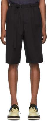 Dries Van Noten Black Wool Piene Belted Shorts