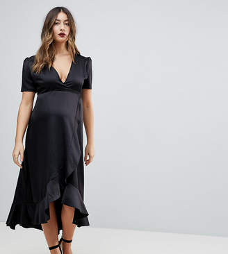 Queen Bee Maternity Wrap Front Asymmetric Ruffle Front Midi Skater Dress