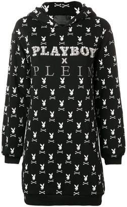 Philipp Plein X Playboy crystal logo hooded dress
