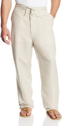 Cubavera Cuba Vera Men's Big-Tall Linen Blend Flat Front Drawstring Pant