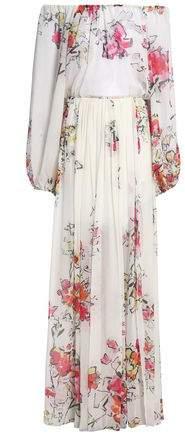 Zuhair Off-The-Shoulder Floral-Print Silk-Chiffon Gown