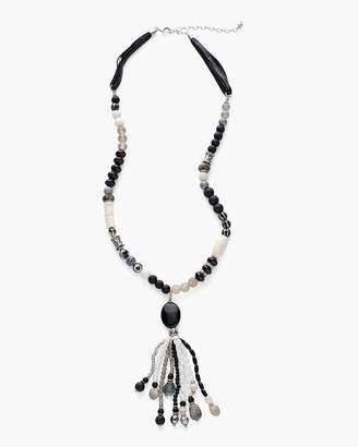 Long Black and White Tassel Necklace