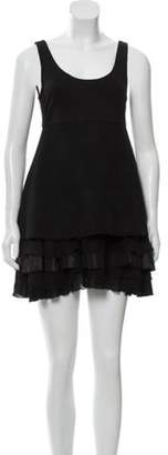 Alice + Olivia Wool Ruffle-Accented Dress Black Wool Ruffle-Accented Dress