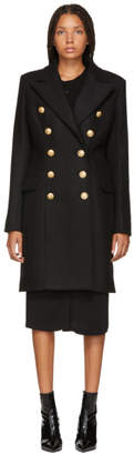 Balmain Black Wool and Cashmere Double-Breasted Coat