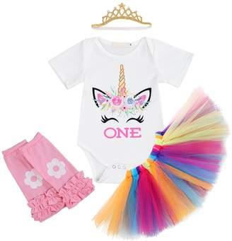 IBTOM CASTLE Girl Newborn It's My 1st Birthday 3/4pcs Outfits Romper+Skirt+Headband(+Leggings) 6-12 Months
