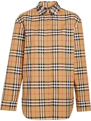Burberry Contrast Check Cotton Shirt