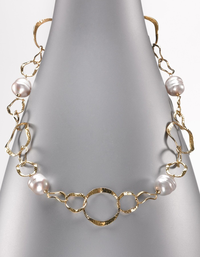 Majorica Baroque Chain-Link & Organic Man-Made Pearl Necklace