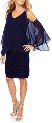 Scarlett Long Sleeve Embellished Cape Sheath Dress