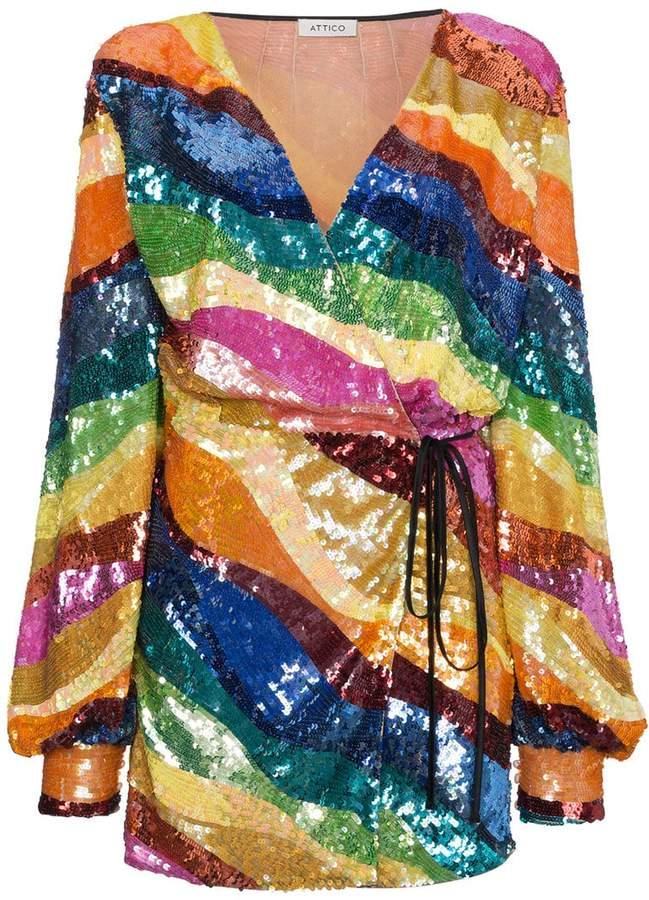 Striped Sequin Mini Dress