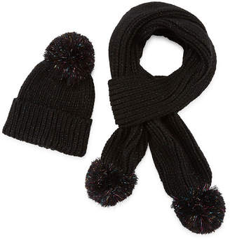 MIXIT Mixit Shine Tinsel Pom Beanie And Scarf 2-pc. Cold Weather Set