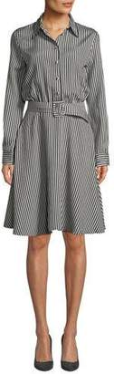 Piazza Sempione Striped Viscose Combo Flare Shirtdress