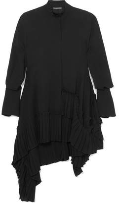 Alexander McQueen Oversized Asymmetric Ruffled Silk Crepe De Chine Blouse - Black