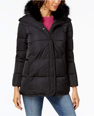 T Tahari Faux-Fur-Trim Puffer Coat