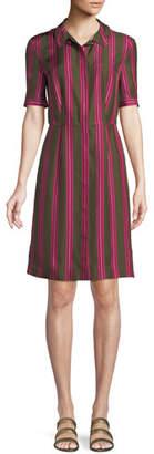 Escada Sport Sport Striped Silk Button-Front Short-Sleeve Shirt Dress