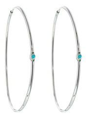 Jennifer Meyer Medium Hoops with Turquoise - Designer White Gold Earrings