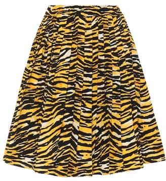 Printed cotton poplin skirt