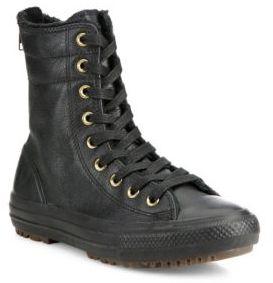 Converse Chuck Taylor Hi-Rise Leather & Faux Fur Boots $90 thestylecure.com