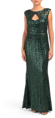 Cap Sleeve Sequin Gown