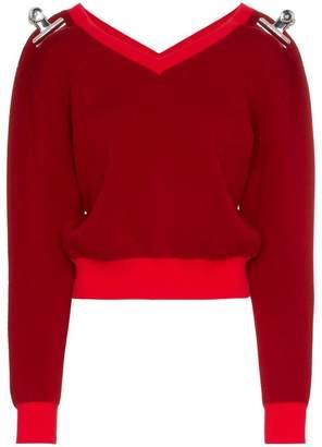 Shushu/Tong V-neck clip embellished wool cashmere-blend jumper