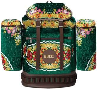 Gucci Large floral velvet jacquard backpack