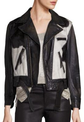 Polo Ralph Lauren Calf Hair & Leather Moto Jacket $1,498 thestylecure.com