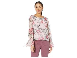 Cupcakes And Cashmere Terra Floral Printed Top