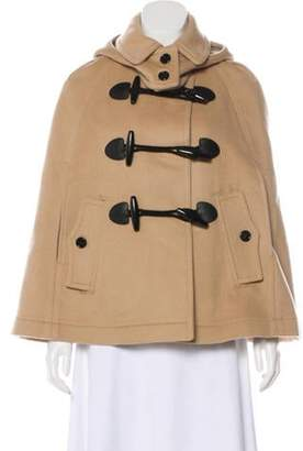 Burberry Wool Exploded Check-Lined Cape Khaki Wool Exploded Check-Lined Cape