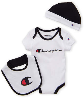 ae6db50437ab8 Champion Infant Boys) 3-Piece White Tipped Bodysuit   Hat Set