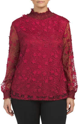 Plus Smocked Mock Neck Floral Lace Blouse