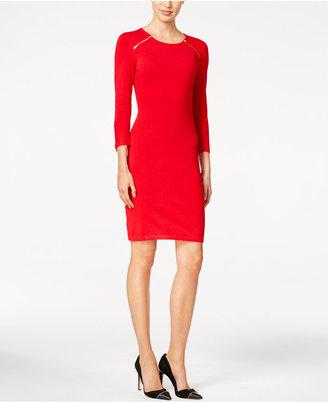 Calvin Klein Zip-Shoulder Sweater Dress $134 thestylecure.com