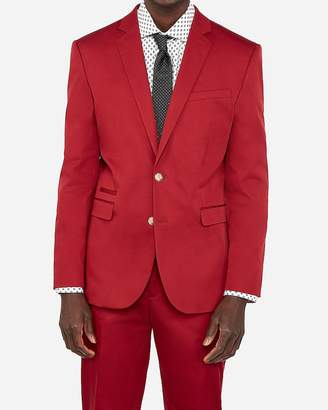 Express Slim Red Cotton Sateen Performance Stretch Suit Jacket