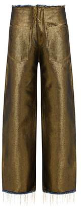 Marques Almeida Marques'almeida - Metallic Wide Leg Denim Jeans - Womens - Gold