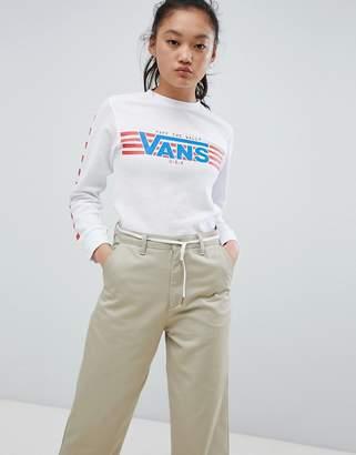 Vans White Finish Line Heritage Long Sleeve T-Shirt