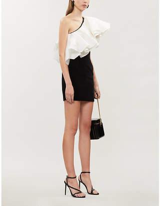Alexandre Vauthier One-shoulder ruffled satin and velvet mini dress