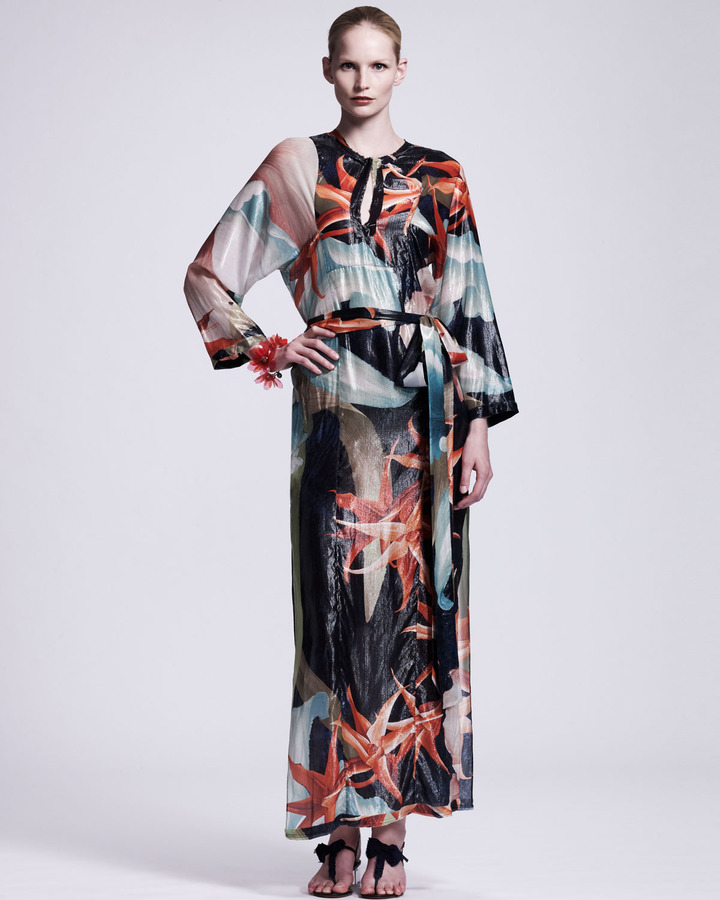Lanvin Tropical-Print Caftan Maxi Dress