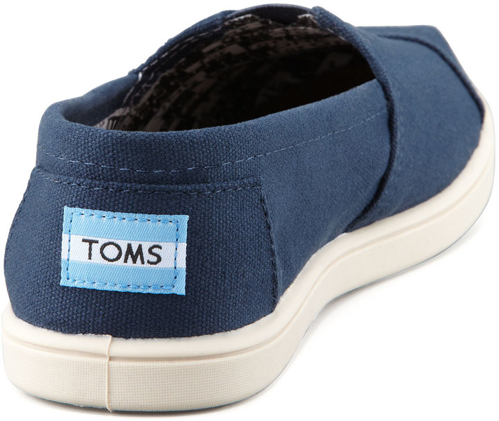 Toms Personalized Classic Canvas Slip-On, Navy, Youth