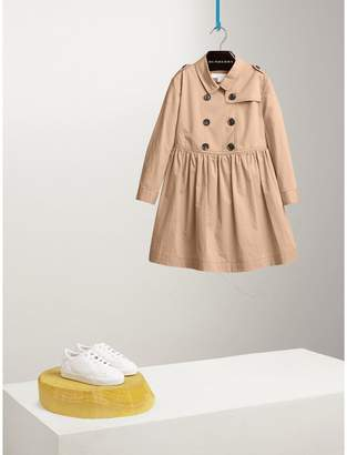 Burberry Check Detail Stretch Cotton Trench Dress