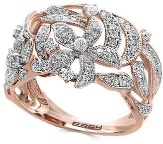 Effy Women's Diamond and 14K Rose Gold Flower Ring