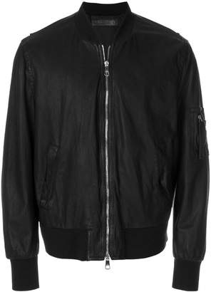 Neil Barrett washed leather bomber jacket