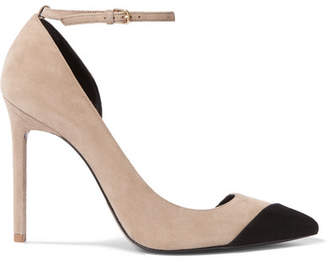 Saint Laurent Anja Two-tone Suede Pumps - Beige