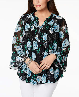 Charter Club Plus Size Bell-Sleeve Pintucked Tunic, Created for Macy's