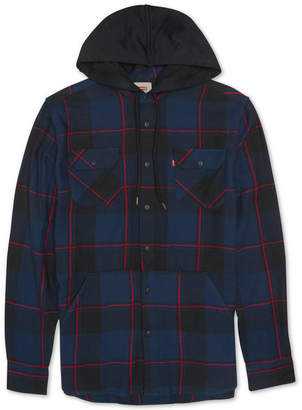 Levi's Men's Prince Hooded Plaid Shirt