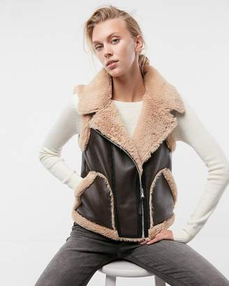 Express Color Block Faux Fur (Minus The) Leather Vest