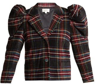 Isa Arfen Puff Sleeve Tartan Wool Chenille Blazer - Womens - Multi