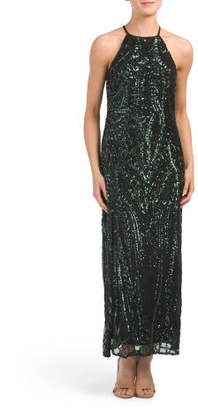 Petite Halter Gown With Sequins