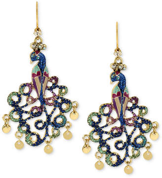 Betsey Johnson Gold-Tone Peacock Drop Earrings