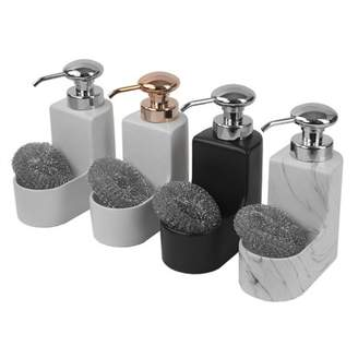 Home Basics 10 oz. Marble Ceramic Soap Dispenser with Sponge